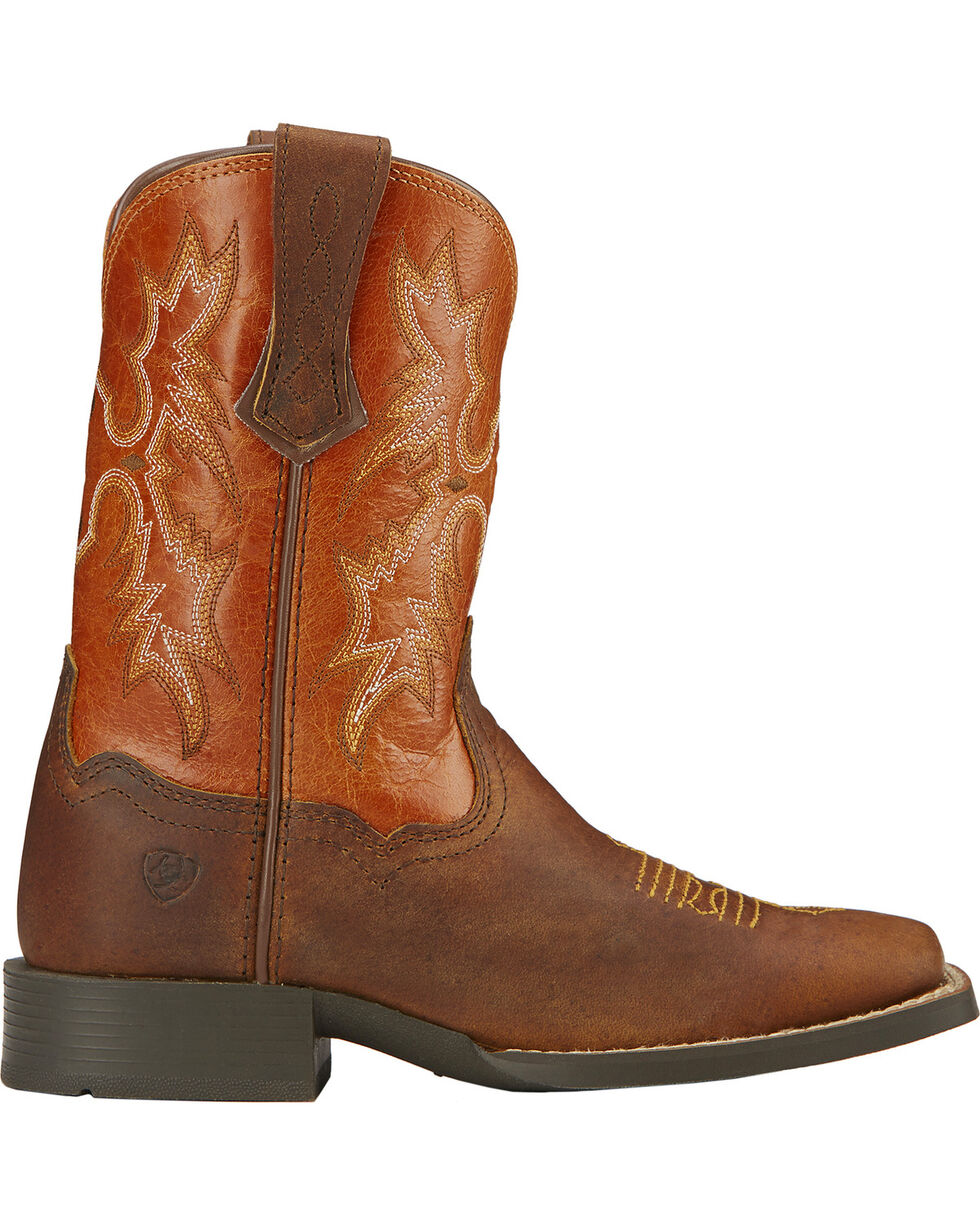 Ariat Kid's Tombstone Square Toe Western Boots, Brown, hi-res