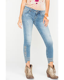 Miss Me Women's Distressed Hem Ankle Jeans - Skinny , , hi-res