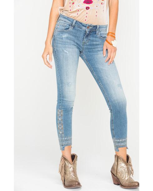 Miss Me Women's Distressed Hem Ankle Jeans - Skinny , Indigo, hi-res