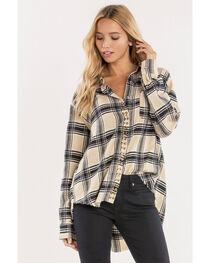Miss Me Women's Taupe Studded Plaid Button Top , , hi-res