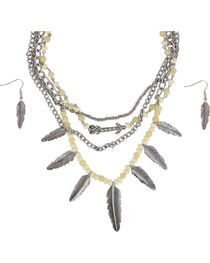 Shyanne® Women's Silver Feathers Jewelry Set, , hi-res