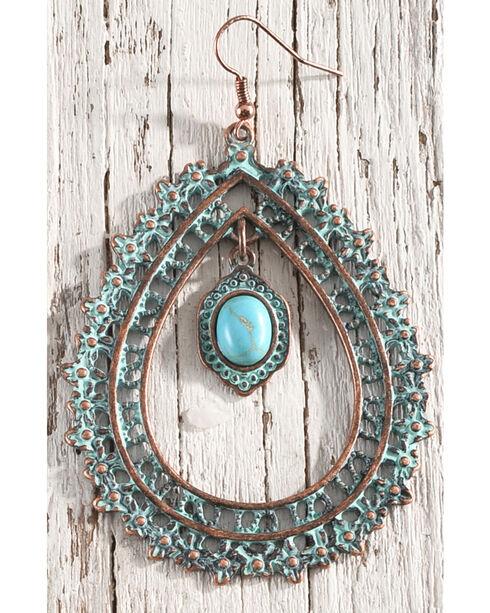 Shyanne Women's Sage Brush Teardrop Hoop Earrings, Turquoise, hi-res