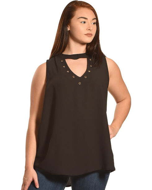 Eyeshadow Women's Choker Neckline Sleeveless Top - Plus, Black, hi-res