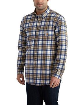 Carhartt Men's Flame Resistant Blue Brown Classic Plaid Shirt - Big & Tall, Med Brown, hi-res