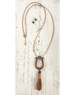 Shyanne Women's Horseshoe Tassel Jewelry Set, Rust Copper, hi-res