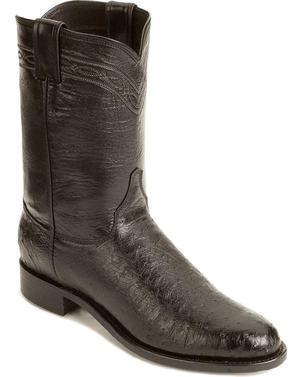 Justin Men's Smooth Ostrich Roper Western Boots, Black, hi-res
