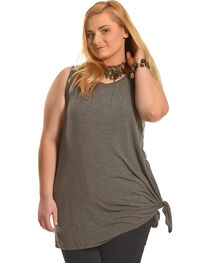 Derek Heart Women's Grey Beauty Asymmetric Tank - Plus Size, , hi-res