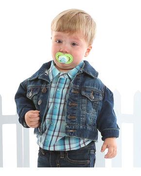 Wrangler Toddler Boys' Turquoise Snap Placket Western Shirt , Aqua, hi-res