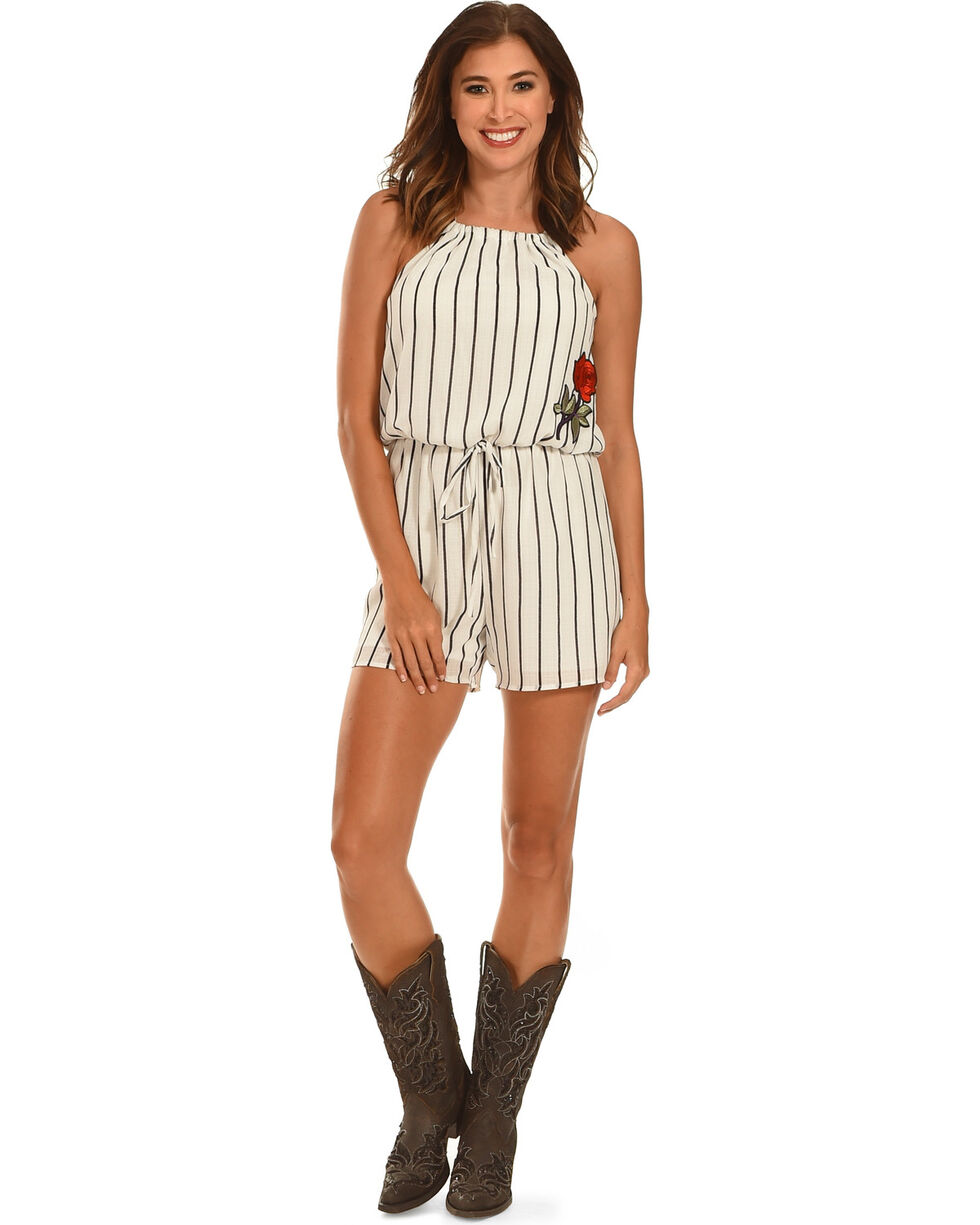 Ces Femme Women's Striped Halter Top Romper , White, hi-res