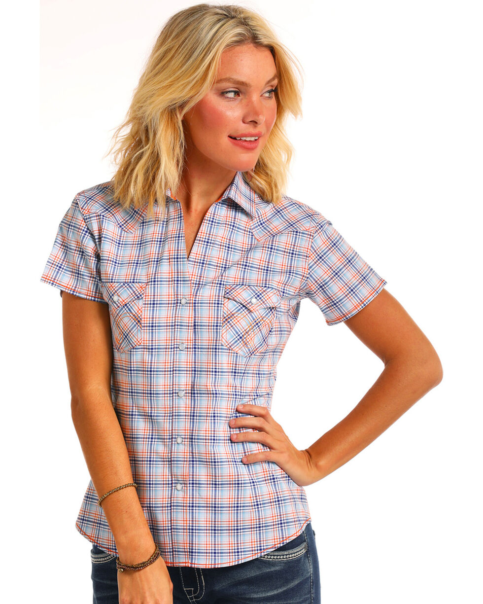 Rough Stock by Panhandle Women's Atwell Vintage Ombre Plaid Short Sleeve Snap Shirt, Blue, hi-res