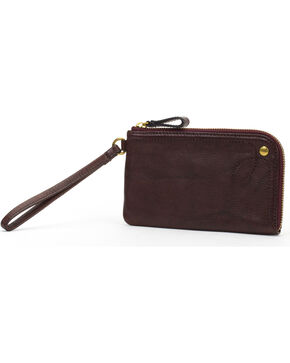 Frye Women's Campus Rivet Leather Wristlet , Dark Brown, hi-res