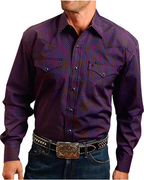 Stetson Men's Dot Patterned Contrast Trim Long Sleeve Shirt, Purple, hi-res