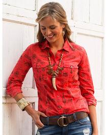 Ryan Michael Women's Tucson Motif Print Shirt , , hi-res