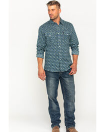 Cinch Men's Blue Print Long Sleeve Western Shirt , , hi-res
