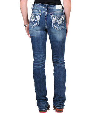 Grace in La Women's Stud Embroidered Boot Cut Jeans, Blue, hi-res