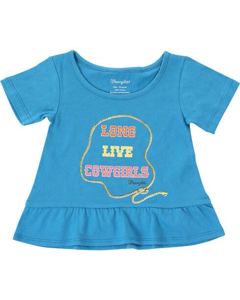 Wrangler Infant/Toddler Girls' Cowgirl Short Sleeve Tee , Blue, hi-res