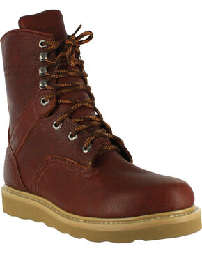 "American Worker® Men's  8"" Lace Up Work Boots, Russet, hi-res"
