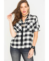 Glam Women's Black Harvest Plaid Boyfriend Shirt , , hi-res