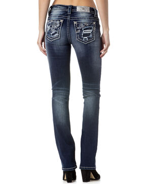 Miss Me Women's Indigo Destructed Slim Jeans - Boot Cut , Indigo, hi-res