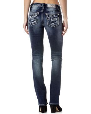 Miss Me Women's Indigo Destructed Slim Jeans - Boot Cut , Indigo, hi-res