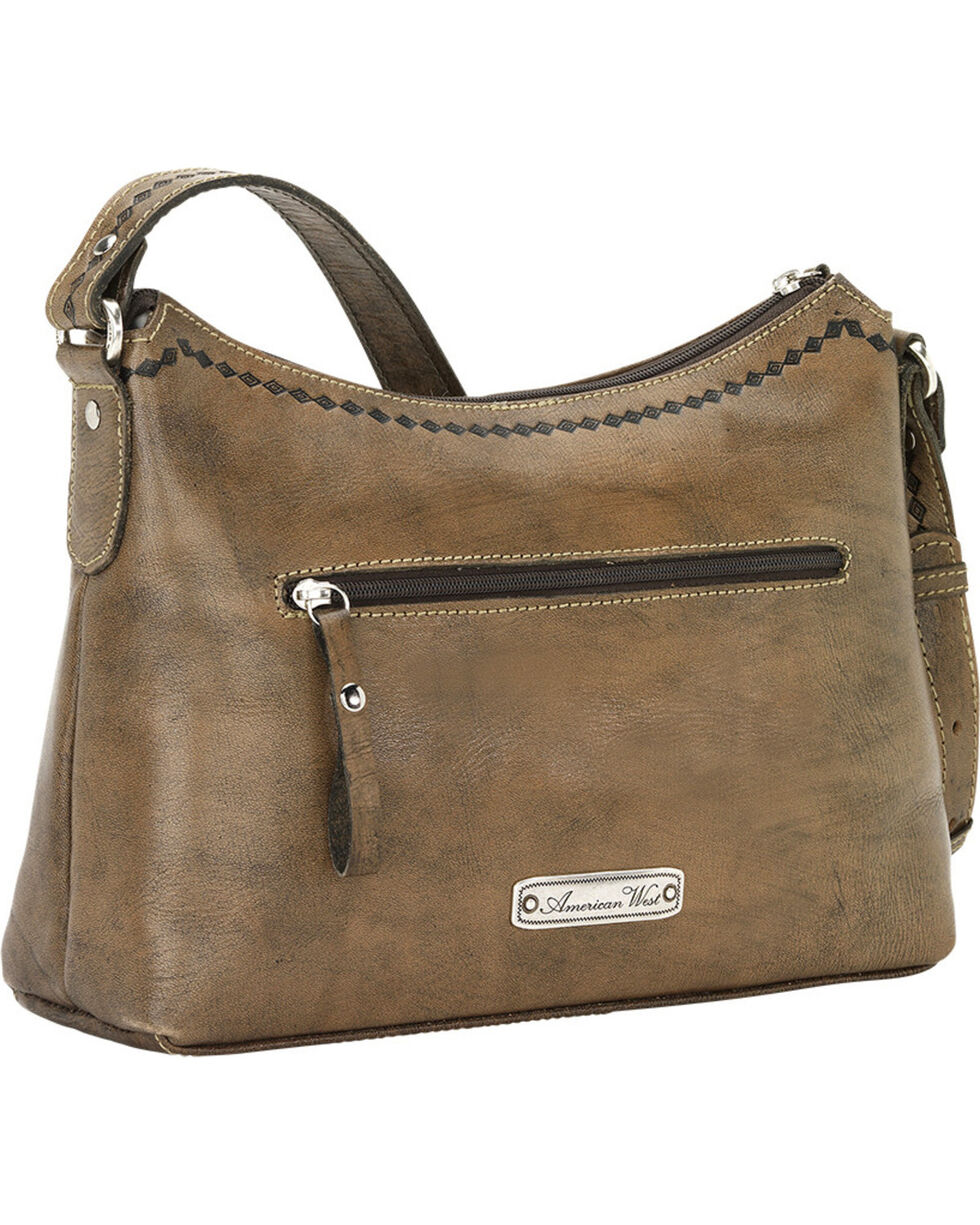 American West Women's Native Sun Zip-Top Shoulder Bag, Brown, hi-res