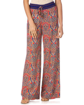 Miss Me Women's Coral & Navy Palazzo Pants, Coral, hi-res