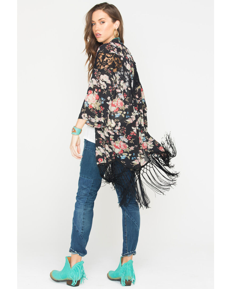Miss Me Women's Floral Print Fringe Kimono, Black, hi-res