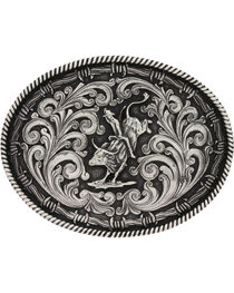 Montana Silversmiths Classic Impressions Bucking Bull Attitude Belt Buckle, , hi-res