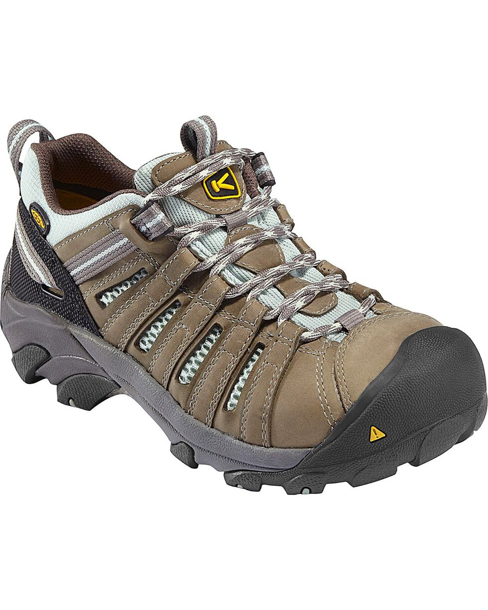 Keen Women's Flint Low Waterproof Steel Toe Work Shoes, Olive, hi-res