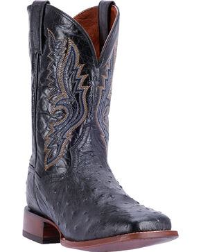 Dan Post Men's Quilled Ostrich Cowboy Boots - Square Toe , Chocolate, hi-res