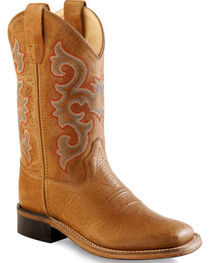 Old West Boys' Tan Western Boots - Square Toe , , hi-res
