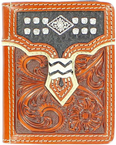 Nocona Overlay with Diamond Concho Tri-Fold Wallet, Tan, hi-res