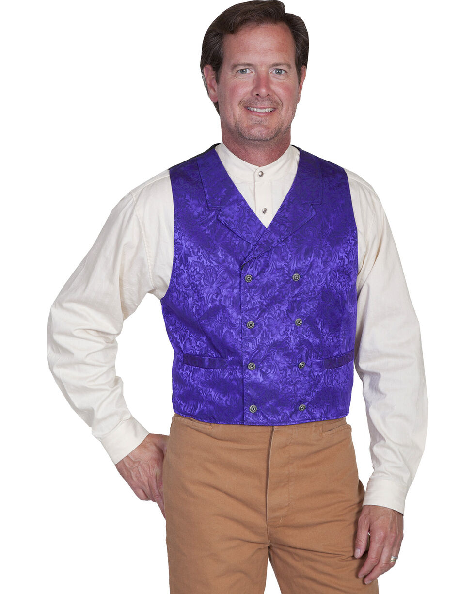 Scully Men's Floral Pattern Silk Vest, Purple, hi-res
