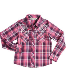 Cumberland Outfitters Girls' Embroidered Plaid Long Sleeve Western Snap Shirt, , hi-res