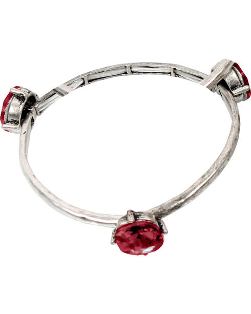 Ethel & Myrtle Red Stone Stretch Bracelet , Red, hi-res