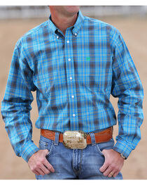 Cinch Men's Blue and Green Plaid Long Sleeve Shirt, , hi-res