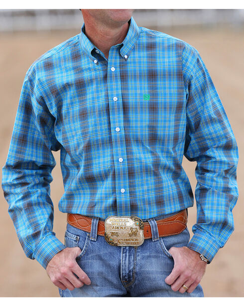 Cinch Men's Blue and Green Plaid Long Sleeve Shirt, Blue, hi-res