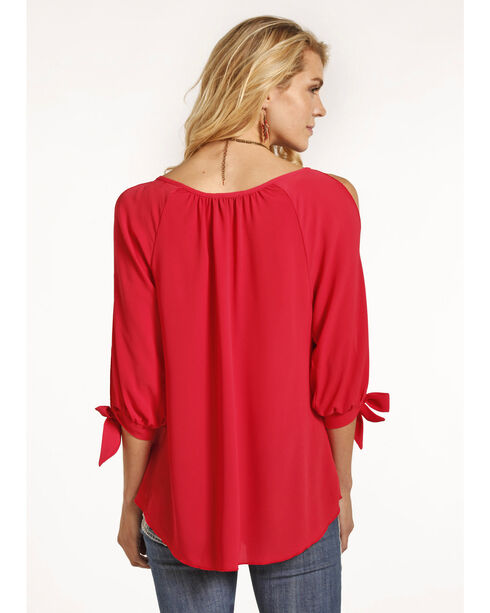 Rock & Roll Cowgirl Women's Coral Cold Shoulder Top , Coral, hi-res