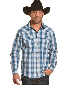 Cody James Men's Blue Plaid Long Sleeve Western Snap Shirt - Big & Tall, Blue, hi-res