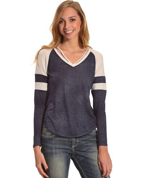 Derek Heart Women's Long Sleeve Thermal Top with Neck Straps, Navy, hi-res