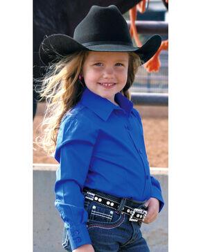 Cruel Girl Girls' Blue Long Sleeve Button Up Top, Blue, hi-res