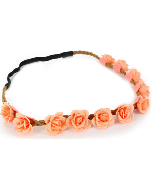 Shyanne® Women's Dainty Peach Flower Crown Headband, Peach, hi-res