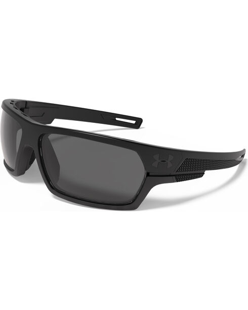 Under Armour Men's Satin Black Battlewrap Sunglasses, Black, hi-res