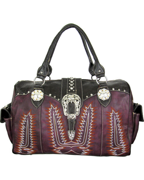 Savana Women's Purple Duffle Bag with Tooled Trim and Stitching, Purple, hi-res