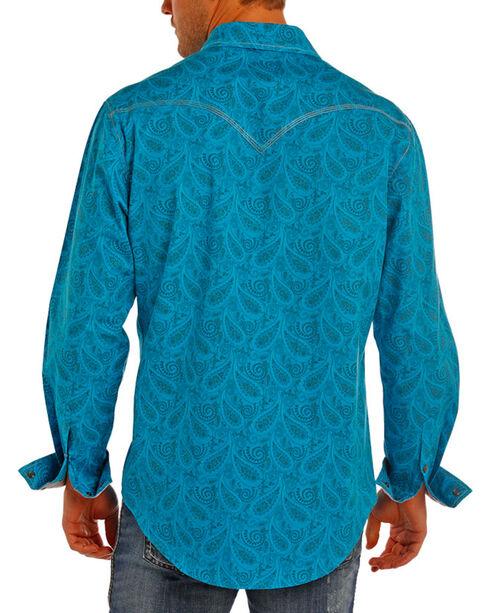 Rock & Roll Cowboy Men's Paisley Print Long Sleeve Western Snap Shirt, Turquoise, hi-res