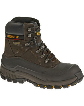 CAT Men's Flexshell Waterproof Tx Steel Toe Work Boots, Black, hi-res