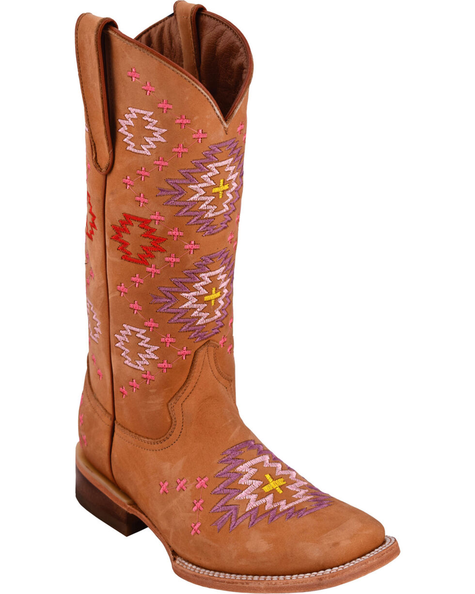 Ferrini Women's Aztec Tan Cowgirl Boots - Square Toe, Tan, hi-res
