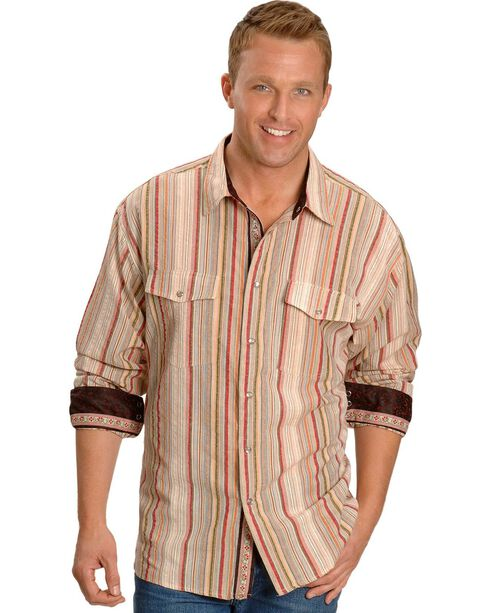 Scully Men's Signature Series Seersucker Striped Western Shirt, Tan, hi-res