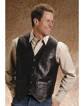Roper Men's Leather Vest - Big and Tall, Brown, hi-res