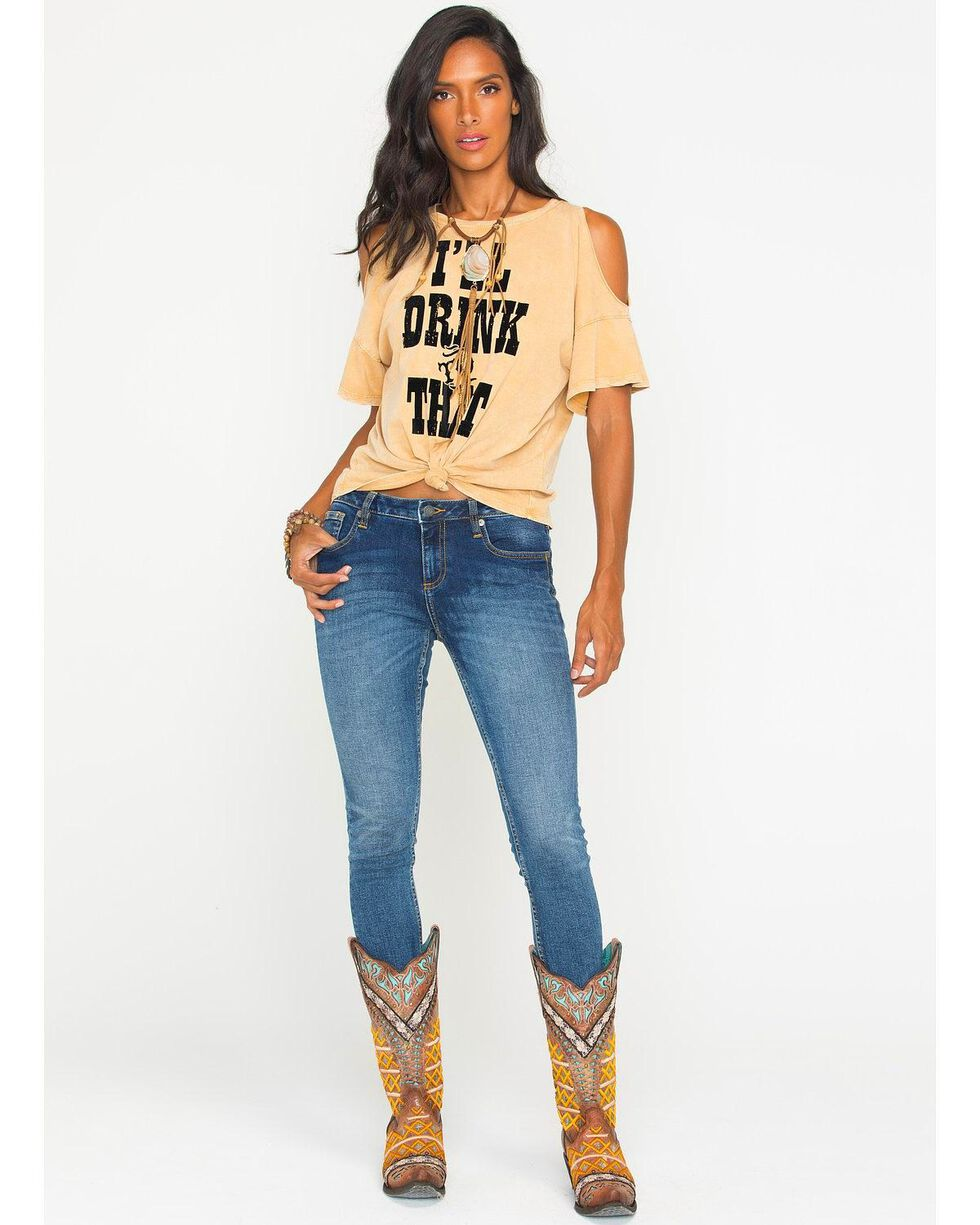 Z Supply Women's I'll Drink To That Cold Shoulder Top, Dark Yellow, hi-res